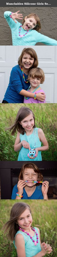 Munchables Silicone Girls Sensory Chew Necklace - Fuchsia/Aqua/Pink Starlight Chewelry. Munchables kids' products are perfect not only as fashion accessories, but also for children that love to chew. Munchables provide a safe alternative to chewing on collars, cuffs, fingers. Made of durable, BPA-free, 100% food-grade silicone, Munchables can reduce anxiety and boost confidence. Munchables offers 'manly' dog tag pendants, adorable beaded necklaces, cute bracelets, key rings and much more!...