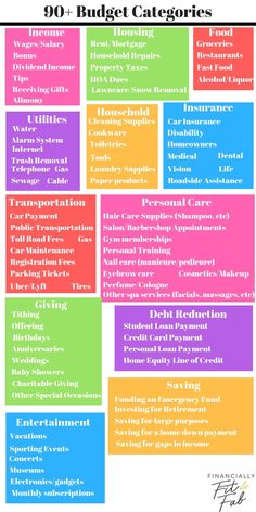 90 Budget Categories for your personal household budget to help you manage money… – Finance tips, saving money, budgeting planner Ways To Save Money, Money Tips, Money Saving Tips, Money Hacks, Financial Peace, Financial Tips, Financial Planning, Budgeting Finances, Budgeting Tips