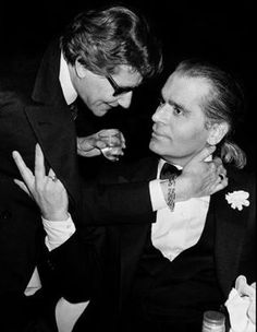 YSL and Karl Lagerfeld DEAR LORD THANK YOU FOR THE GIFT OF KL/YSL TOGETHER VERY YOUNG HERE