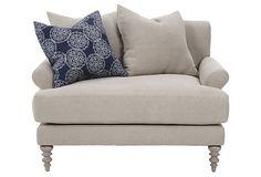 For living room with ottoman   Benson Chair-and-a-Half on OneKingsLane.com
