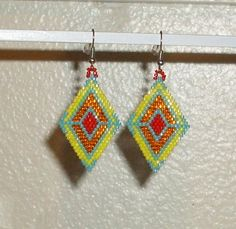 Red+Orange+Yellow+and+Turquoise+Beaded+Earrings+by+TheCraftyCuban,+$25.00