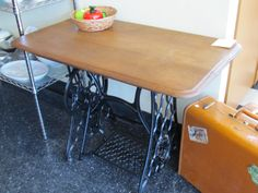 recycled singer sewing machine treadle table oak top