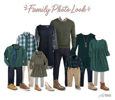 family photo outfits Looking & planning for what to wear for Family Pictures? Here is the great entire look featuring combination of navy and greens! It's a wonderful coordinating Fall Family Picture Outfits, Christmas Pictures Outfits, Family Pictures What To Wear, Family Picture Colors, Family Portrait Outfits, Winter Family Photos, Family Christmas Pictures, Family Outfits, Family Pics