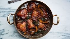 Braised Chicken Thighs with Squash and Mustard Greens Recipe | Bon Appetit