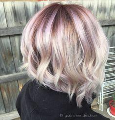 Pastel pink blonde balayage colour melt lob hair