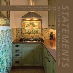 Kitchen backsplash with tones of green Prairie School tree mural. 1x1 mosaic tile. Faux bois tile trim. Rustic country guest house kitchen.