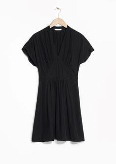 & Other Stories   Gathered V-Neck Mini Dress