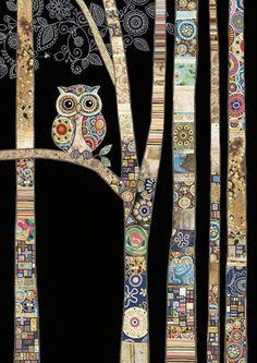 Tableau Pop Art, Art Fantaisiste, Art Du Collage, Bug Art, Animal Quilts, Owl Quilts, Landscape Quilts, Pics Art, Whimsical Art