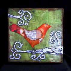 Bird Art Whimsical Tree Sculpture 2 - Mixed media collage sculpture on a 8x8x1.5, gallery wrapped canvas frame, wired and ready to hang.  The bird is made from an assortment of recycled craft papers, maps, vintage sheet music and ephemera. The tree is sculpted onto the canvas frame, coated in layers of imitation silver leaf, aged and sealed with a UV protected top coat. A tiny rhinestone brings a sparkle as the bird's eye.