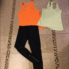 NIKE BUNDLE  Nike bundle leggings size small zip on bottom , 2 tank size medium all in good condition •••no holds or trades ••price is firm •• Nike Pants Leggings