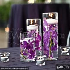 flowers and floating candles in water
