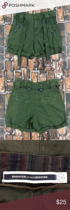 Daughters of The Liberation High Waist Green Short Daughter of the Liberation Anthropologie Linen Cotton Blend Shorts. Tie waist . Zip fly with button details outside of pockets. 2 back pockets. Size 4. No major flaws or defects.   Measurements  Waist: 15  Hips: 18  Rise: 11 1/4  Total Length: 14 1/1    Material Composition   • 55% Linen  • 45% Cotton Daughters of Liberation Shorts Skorts