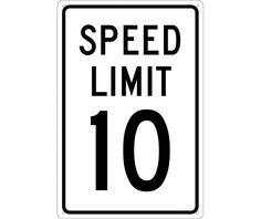 """Speed Limit 10, National Marker TM18G, 18""""x12"""", Black On White, 85 Percent Recycled .040"""" Aluminum Speed Limit Sign With 4 Holes For Wall Mounting - Each"""