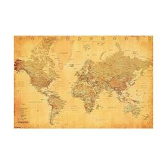 Art.com - World Map Vintage Style Poster ($6.99) ❤ liked on Polyvore