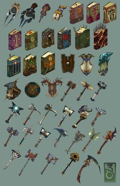 38 Studios Weapons game user interface gui ui | Create your own roleplaying game material w/ RPG Bard: www.rpgbard.com | Writing inspiration for Dungeons and Dragons DND D&D Pathfinder PFRPG Warhammer 40k Star Wars Shadowrun Call of Cthulhu Lord of the Rings LoTR + d20 fantasy science fiction scifi horror design | Not Trusty Sword art: click artwork for source