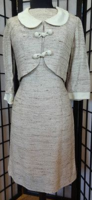VTG 50's 60's Mad Men Tweed Dress with Jacket Jackie O Carol Craig - Size M, $65 includes shipping