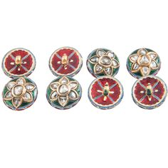set of eight,Indian,enamel and diamond buttons | From a unique collection of vintage brooches at http://www.1stdibs.com/jewelry/brooches/brooches/