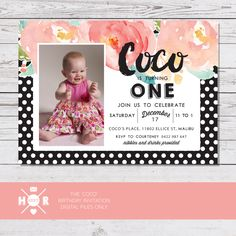 Printable - The 'Coco' bold floral watercolor Birthday Invitation by hudsonmeetrose on Etsy