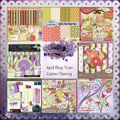 Scrapbooking Blog Train - April 2013, O'Scrap, Spring Has Sprung.  Lots of great digital scrapbooking freebies!  NOTE:  Several of the freebies are Tagger Sized