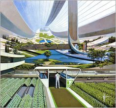 Syd Mead Gouache rendering for National Geographic Picture Atlas of Our Universe (1980) depicting hydroponic agriculture in space. This rendering was the inspiration for Elysium.