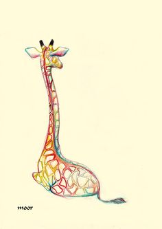 Giraffe, color pencil drawing