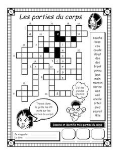 Les parties du corps - parts of the body in french crossword worksheet French Language Lessons, Spanish Language Learning, French Lessons, French Teaching Resources, Teaching French, French Worksheets, Worksheets For Kids, How To Speak French, Learn French