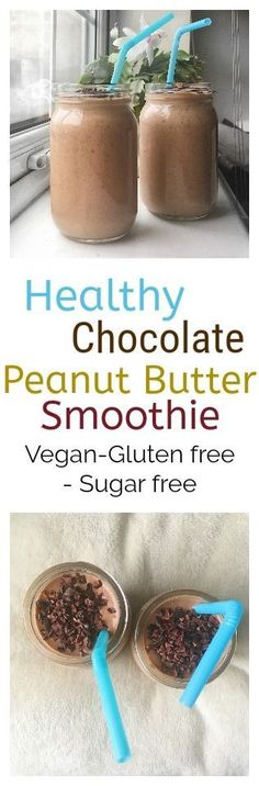 healthy chocolate peanut butter smoothie (Chocolate Milkshake Protein) - All Recipes & Vegan and other Smoothies Vegan, Smoothie Proteine, Breakfast Protein Smoothie, Baby Smoothies, Cacao Smoothie, Healthy Shakes, Healthy Drinks, Healthy Milkshake, Milkshake Recipes