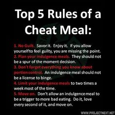"""i don't like the term """"cheat meal."""" I like the term """"splurge meal."""" If you follow the 80/20 rule...eating healthy 80% of the week and you allow yourself 20% for """"splurge meals."""""""
