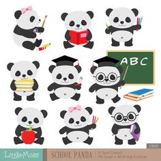 School Panda Clipart Back to School Clipart by LittleMoss on Etsy