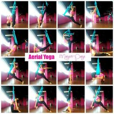 Aerial Yoga Tutorial Manual with videos! Margie Pargie 6 yard hammocks on sale… Anti Gravity Yoga, Aerial Yoga Hammock, Different Types Of Yoga, Partner Yoga, Yoga Positions, Yoga At Home, Online Yoga, Yoga Routine, Sport