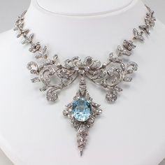Jewelry Diamond : Aquamarine And Diamond Necklace ca. 1950s #OnlineDiamondStores