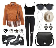 """""""FRINGED SUEDE CROP JACKET"""" by eva-jez ❤ liked on Polyvore featuring Topshop, Lucky Brand, rag & bone, Le Specs, Artesano, Miss Julie, fringe, suede, cropjacket and stylemoi"""