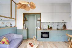 Studio Levallois-Perret : un 22 m2 de banlieue parisienne repensé - Côté Maison 70s Home Decor, Home Decor Furniture, Küchen Design, House Design, Interior Design, Design Ideas, Small Apartments, Small Spaces, Kitchen Interior