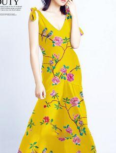 Aliexpress.com : Buy 93%silk %7spandex real silkworm silk fabrics digital printing skirts dresses fabric yellow hibiscus magpie bird 1.093 yard B075 from Reliable silk fabric suppliers on wgq rhinestones