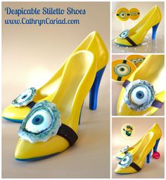 Despicable Chocolate Stiletto Shoes - they're what every well dressed lady Minion (Minion-ette?) is wearing this season - lol :D  Available from Cathryn Cariad Chocolates - www.CathrynCariad.com