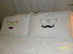 Pair of Eyeglasses Hand Painted on Pillow Cases, Bedroom Decor, Couples Gift Ideas