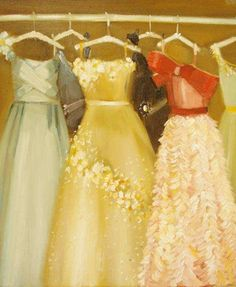 Ball Gowns Original Oil Painting by janethillstudio on Etsy