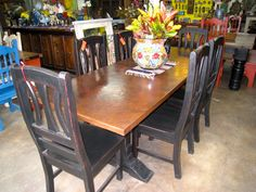 dark brown copper top trestle dining table from barrio antiguo houston tx 77007 contact us directly - Copper Kitchen Table