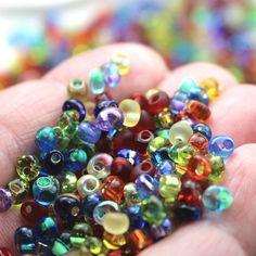 20 Grams (@ 233 Beads) Rainbow Magatama Glass Seed Beads 4x5mm Miyuki Brand 4mm Kumihimo Beads Red Orange Yellow Green Blue Purple Pride Mix