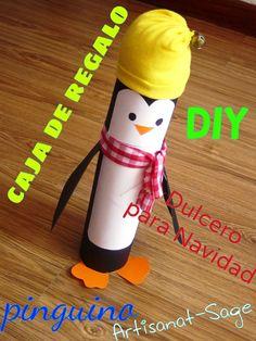 caja de regalo-dulcero navideño // pinguino// DIY NAVIDAD -bolo navideño