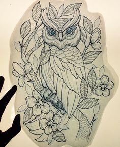 Owl stencil Circle Tattoos, Body Art Tattoos, Sleeve Tattoos, Tattoo Ink, Arm Tattoo, Fish Tattoos, Stencils Tatuagem, Tattoo Stencils, Owl Tattoo Drawings