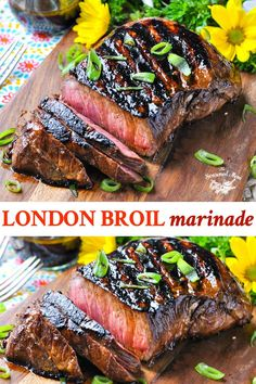 Turn this affordable steak into a tender, juicy, and flavorful piece of meat with a simple London Broil Marinade! The easy and healthy dinner recipe comes together in just minutes, can be prepared in advance, and gets better as it sits! London Broil Steak, Grilled London Broil, Cooking London Broil, Marinade For London Broil, Pork Roast Recipes, Grilling Recipes, Meat Recipes, Cooking Recipes, Budget Cooking