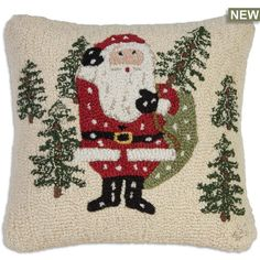 Our beautiful hand hooked wool pillows are perfect home accents for living rooms, family rooms, bedrooms and everywhere you want to bring life to your home. Christmas Tree Hooks, Small Christmas Trees, Christmas Sweaters, Christmas Decorations, Christmas Stuff, Halloween Pillows, Wool Pillows, Winter Theme, Designer Throw Pillows
