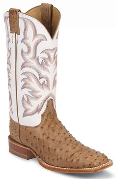 Justin Boots 8572 - Justin Men's ANTIQUE TAN VINTAGE FULL QUILL OSTRICH Boots