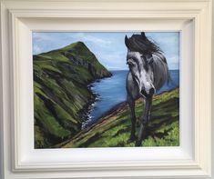 Pony on the cliffs, Clare island, Co Mayo Clare Island, Irish Art, Cliff, Pony, Moose Art, Art Pieces, Animals, Painting, Animaux