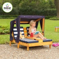 Outdoor Chaise Lounge Play House Kids Cup Holder Summer Play Lounger Canopy Wood