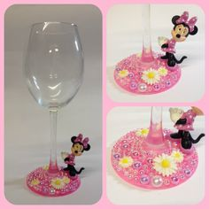 Minnie Mouse Disney Character Glitter Wine Glass including FREE organza gift bag - pinned by pin4etsy.com