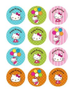 12 Hello Kitty Party Collection Edible Rice Wafer Paper Cupcake Toppers - Ventures Deals
