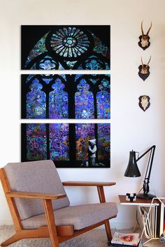 Stained Glass Window II 3 Panel Sectional Wall Art