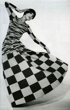 Peggy Moffitt in a dress by Rudi Gernreich, Time Magazine 1964 showing the Op Art fashion